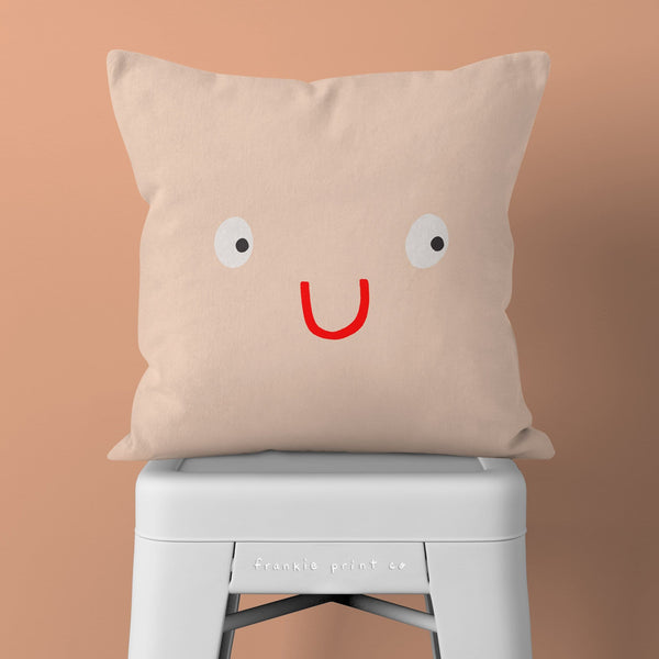 Cute Face Pillow: Funny Throw Pillow, Novelty Toss Cushion, Quirky Decor, Nude Blush Peach Kids Room, Dorm Nursery, Happy Smiling Character