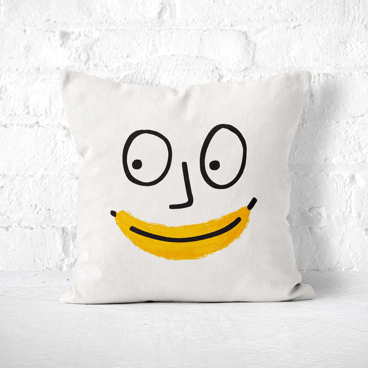 Banana Face Pillow - Funny Quirky Novelty Throw Pillow, Yellow Fruit Decor, Kids Room Decor, Kawaii Toss Cushion,