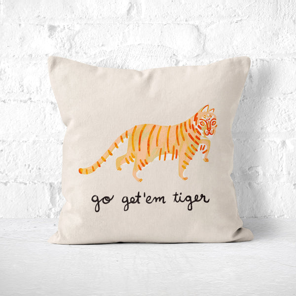 Tiger Pillow: Cute Animal Throw Pillow, Novelty Toss Cushion, Quirky Decor, Kids Room, Dorm Nursery, Inspirational Motivational Self Care