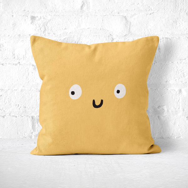 Cute Face Pillow in Soft Gold: Funny Throw Pillow, Novelty Toss Cushion, Quirky Decor, Kids Room, Dorm Nursery, Happy Smiling Character