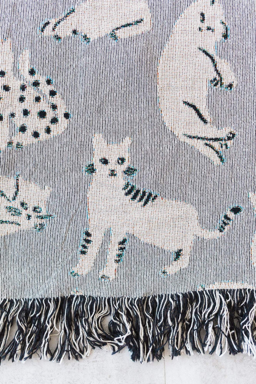 Grey Cats Throw Blanket: Woven Cotton Throw for Sofa, Cute & Funny Gift for Cat or Pet Lovers, Novelty Quirky Decor