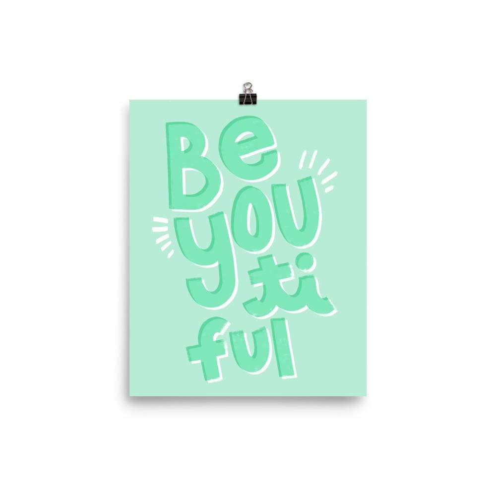 BeYOUtiful Art Print in Mint Green