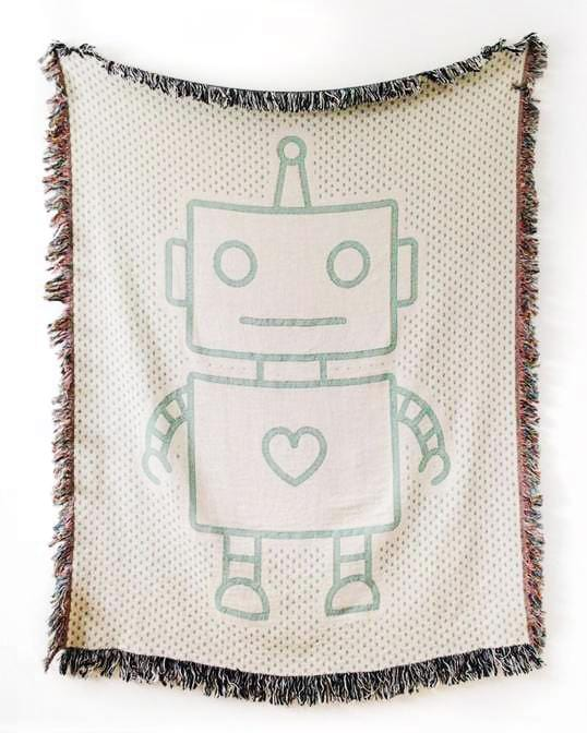 ROBOT Woven Throw Blanket