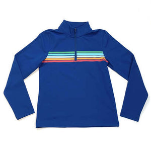 Horizon Striped Royal Quarter Zip Active Pullover