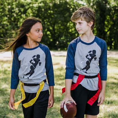 Rush! Flag Football Raglan 3/4 Sleeve T-Shirt