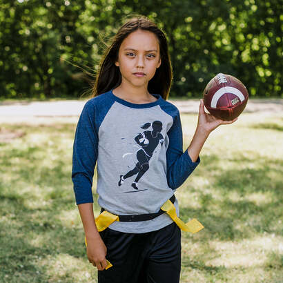 Image of Rush! Flag Football Raglan 3/4 Sleeve T-Shirt
