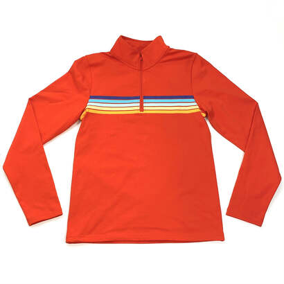 Image of Horizon Striped Red Quarter Zip Active Pullover