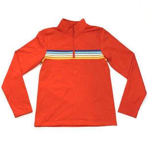 Horizon Striped Red Quarter Zip Active Pullover