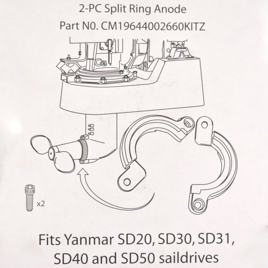 Yanmar 2-pc Split Ring Anode - Zinc -