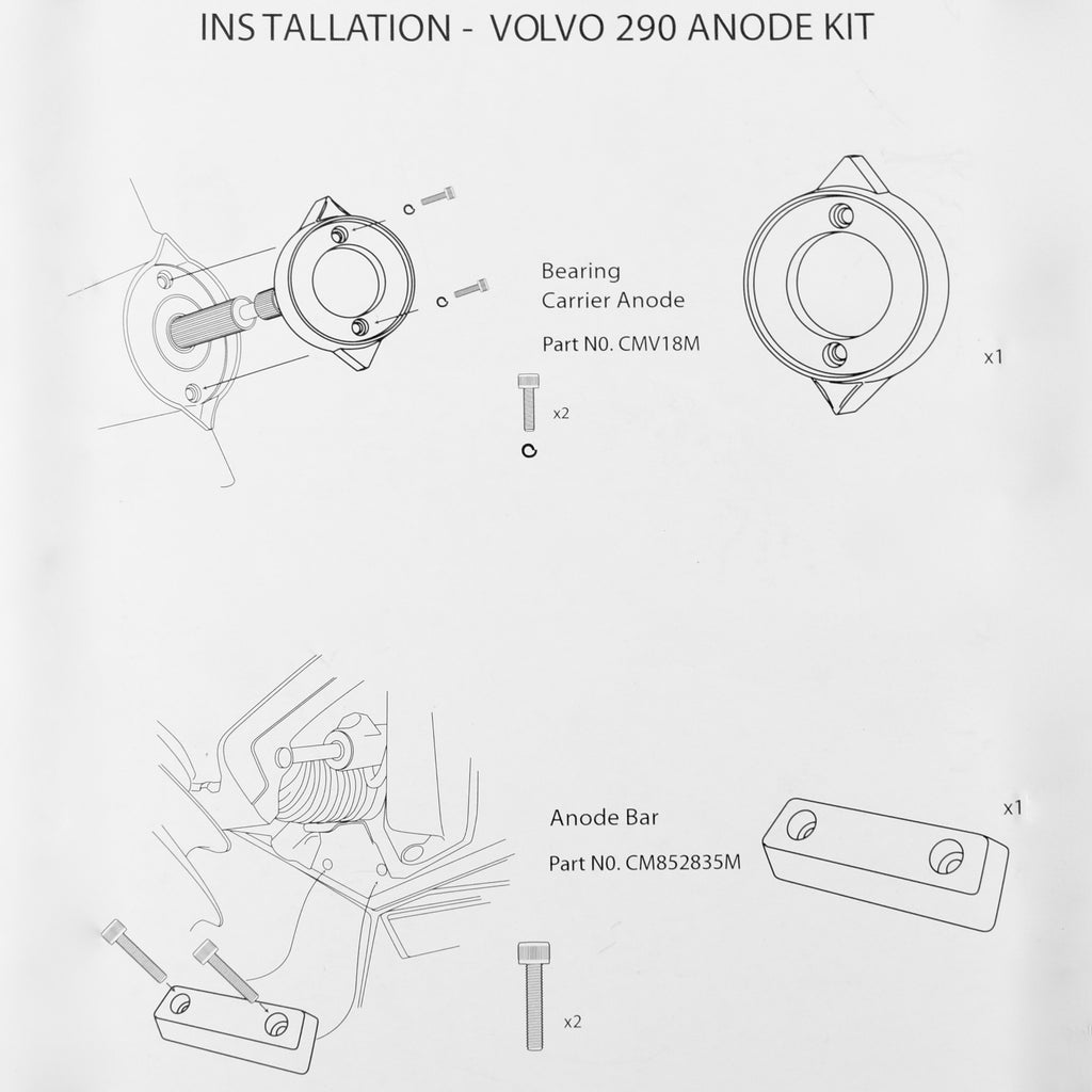 Volvo Penta 290 Single Prop Kit - Zinc -