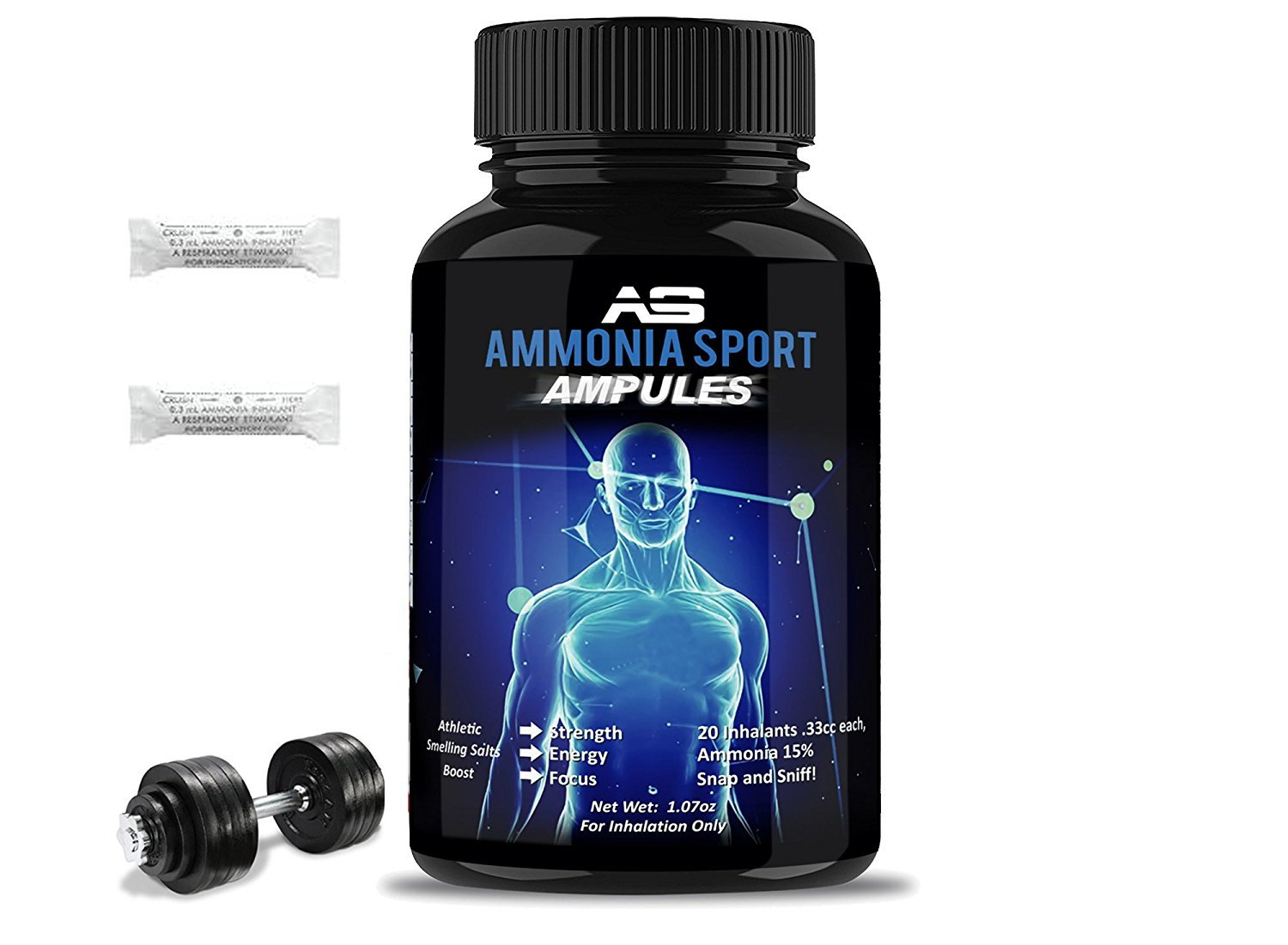 AmmoniaSport Athletic Smelling Salts - Maximum Energy Ammonia Inhalant - Smelling Salt / Ammonia Inhalants