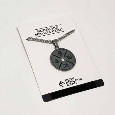 Barbell Plate Pendant With Chain Necklace - Maximum Velocity Sports