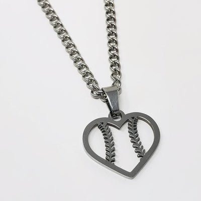 Baseball / Softball Heart Pendant With Chain Necklace - Maximum Velocity Sports