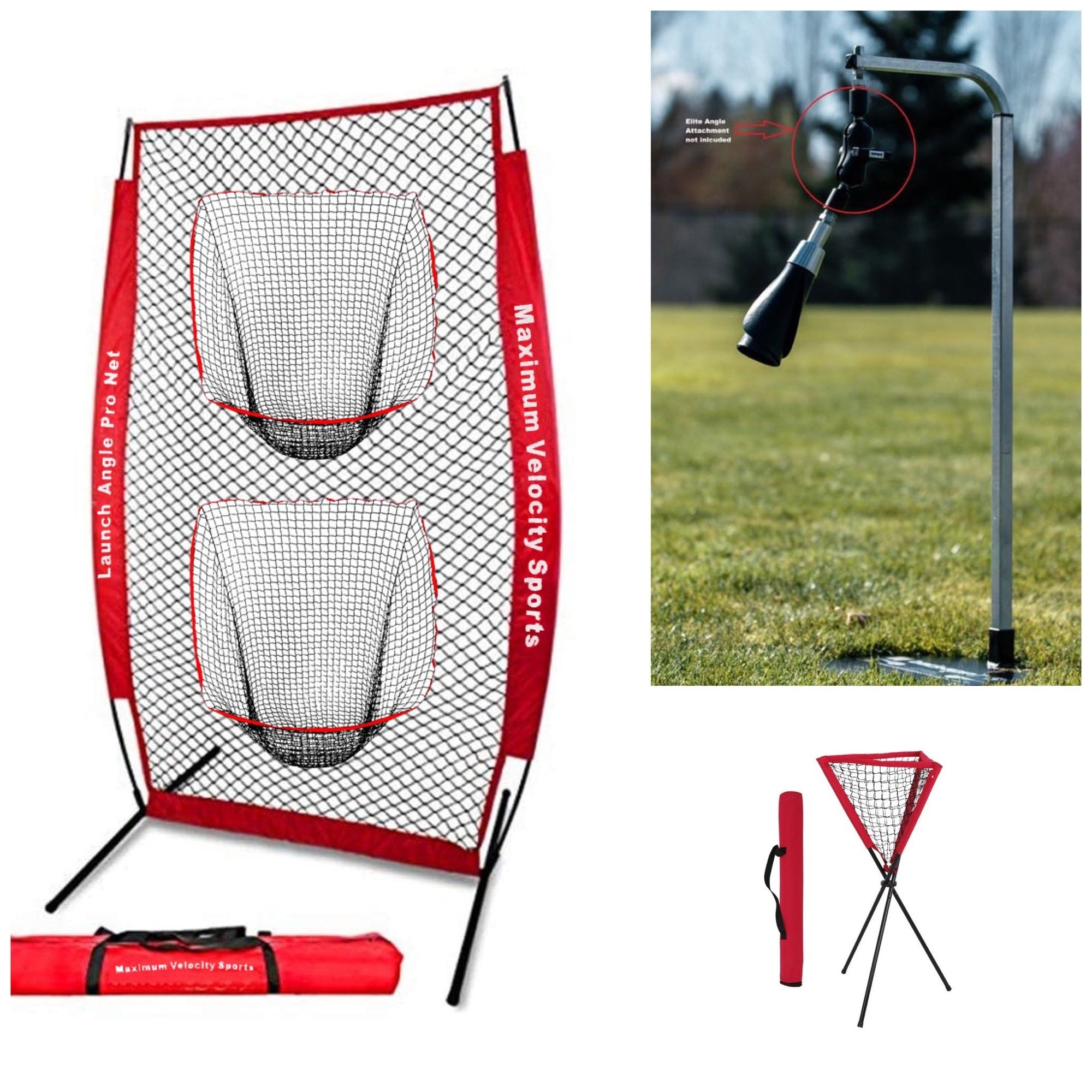 Line Drive Hitting Net, Backspin Tee Lite, Ball Caddy - Maximum Velocity Sports