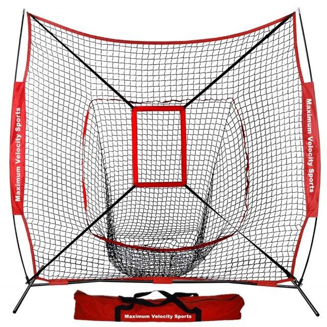 Maximum Velocity Sports | Baseball and Softball Practice Net | 7 x 7 with Bow Frame & Strike Zone - Maximum Velocity Sports