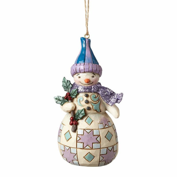Jim Shore Wonderland Snowman With Holly Ornament