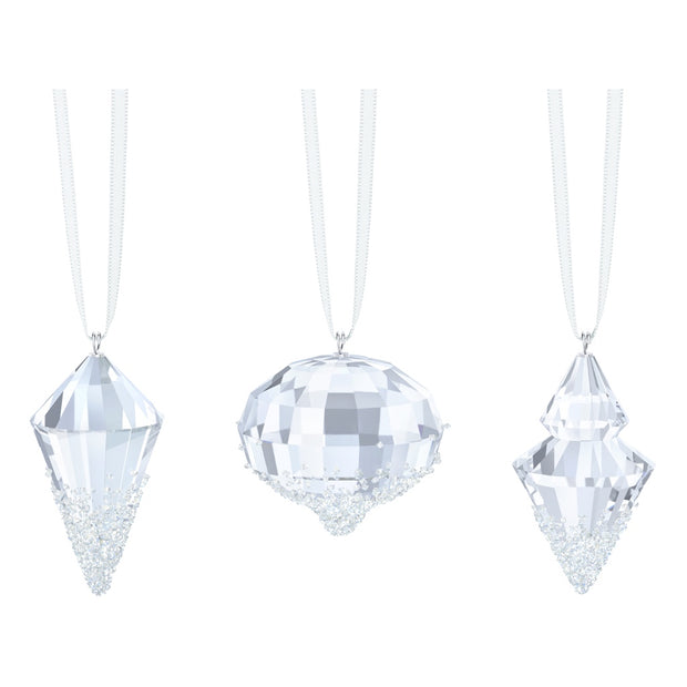 Swarovski Crystal Christmas Ornaments, Set of 3