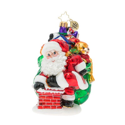 Christopher Radko Sneaking Down The Chimney Christmas Ornament