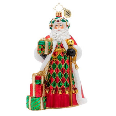 Christopher Radko Holiday Harlequin Santa Christmas Ornament