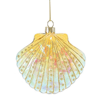 Gone To The Beach Coastal Shell Ornament - Yellow