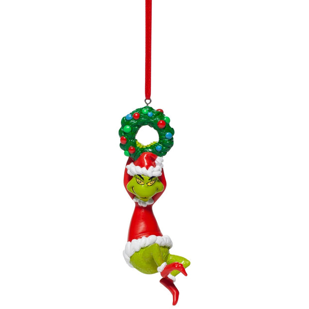 Grinch Hanging On Wreath Ornament