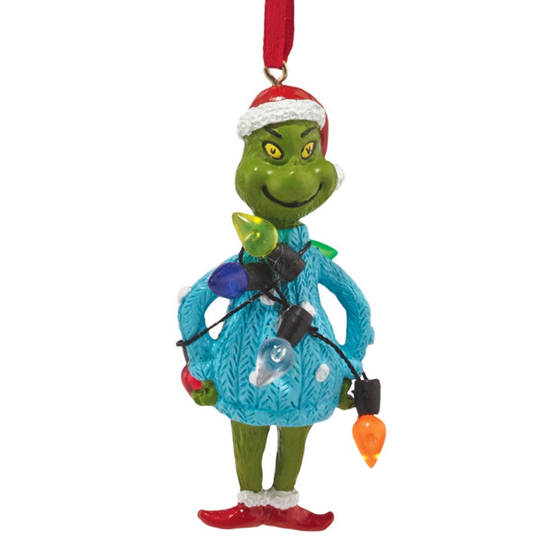 Grinch Mini Ugly Sweater Ornament - Lights