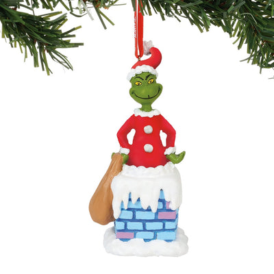 Grinch Into The Chimney Voice Ornament