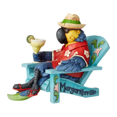 Jim Shore Margaritaville Parrot In Beach Chair Figurine
