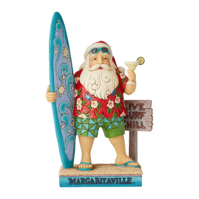 Jim Shore Margaritaville Santa With Surfboard Figurine