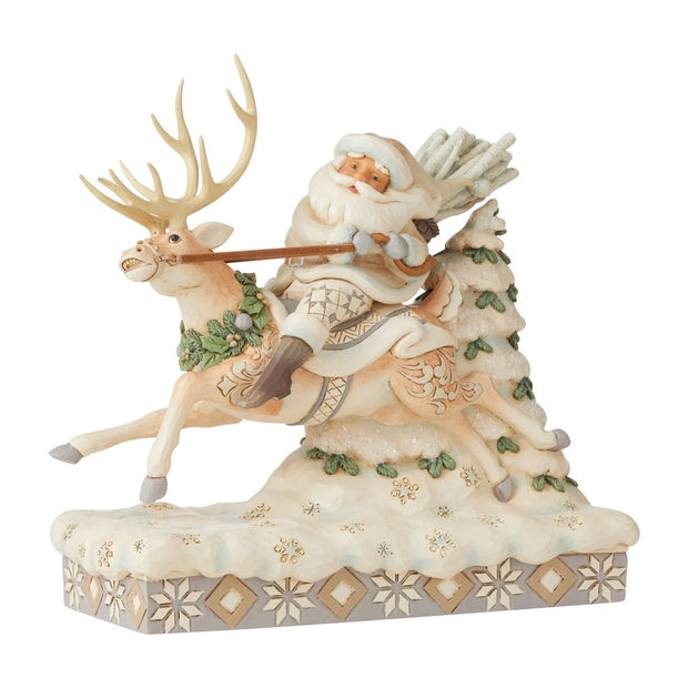 Jim Shore White Woodland Santa Riding Reindeer Figurine