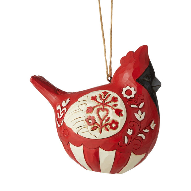 Jim Shore Nordic Noel Roly Poly Cardinal Ornament