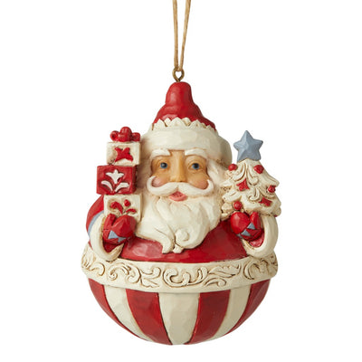 Jim Shore Nordic Noel Roly Poly Santa Ornament