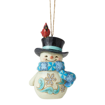 Jim Shore Snowman With Cardinal On Hat Ornament