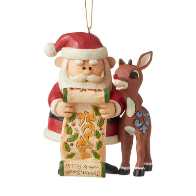 Jim Shore Rudolph & Santa With List Ornament