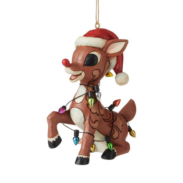 Jim Shore Rudolph Wrapped In Lights Ornament