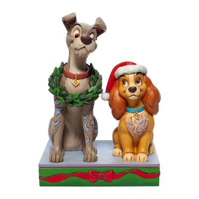 Jim Shore Disney Traditions Christmas Lady & The Tramp Figurine