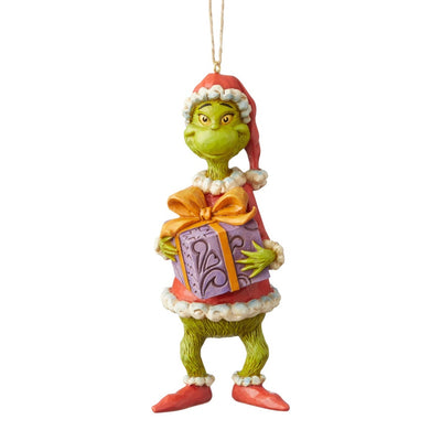 Jim Shore Grinch Holding Present Ornament