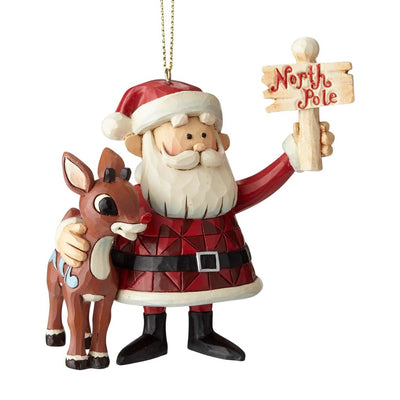 Jim Shore Rudolph & Santa North Pole Ornament