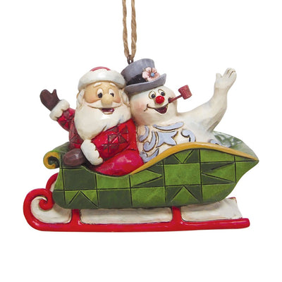 Jim Shore Santa & Frosty In Sleigh Ornament