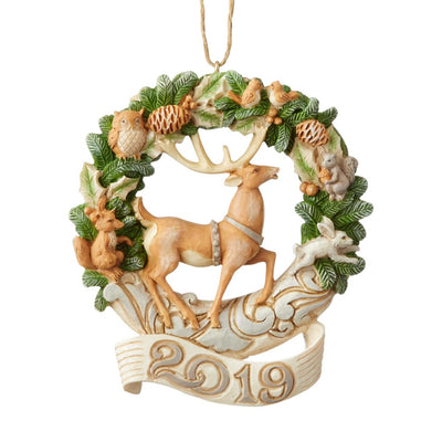 Jim Shore White Woodland 2019 Dated Wreath Ornament
