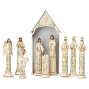 Jim Shore White Woodland 10 Piece Nativity Figurine Set Limited Edition