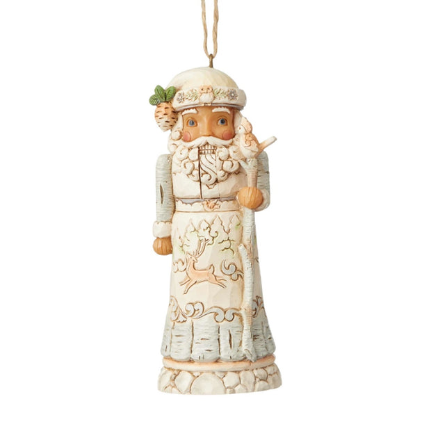 Jim Shore White Woodland Santa Nutcracker Ornament
