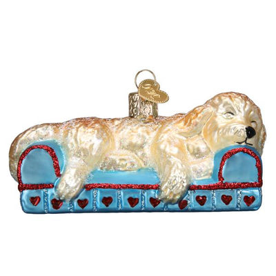 Old World Christmas Sleepy Doodle Dog Ornament