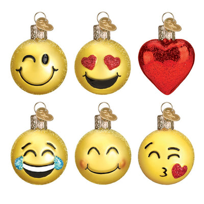 Old World Christmas Mini 6 Piece Emoji Ornament Set