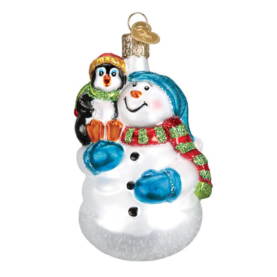 Old World Christmas Snowman With Penguin Pal Ornament