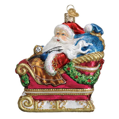Old World Christmas Santa In Sleigh Ornament