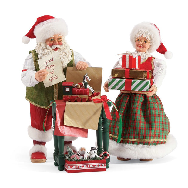 Possible Dreams Clothtique Wrapped And Ready Santa & Mrs. Claus Figurine