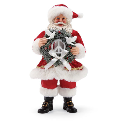 Possible Dreams Clothtique Peace Wreath Santa Figurine