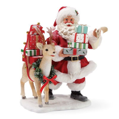 Possible Dreams Clothtique Deerest Santa Figurine
