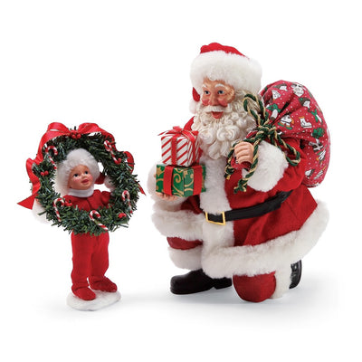 Possible Dreams Clothtique Peek A Boo Santa Figurine